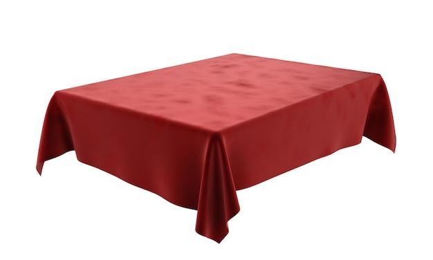 Czerwony welurowy prostokątny obrus do stołu na białym tle