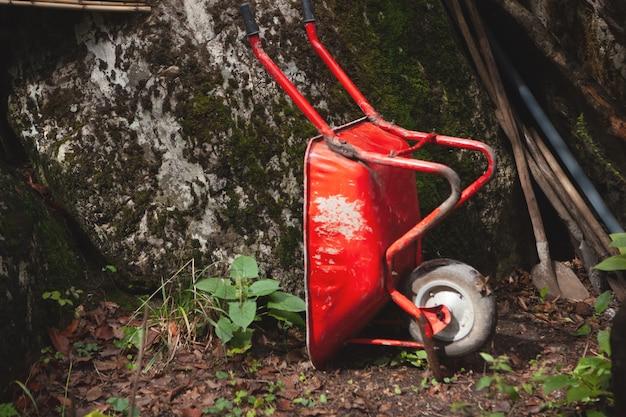 Czerwony wózek i łopaty w lesie