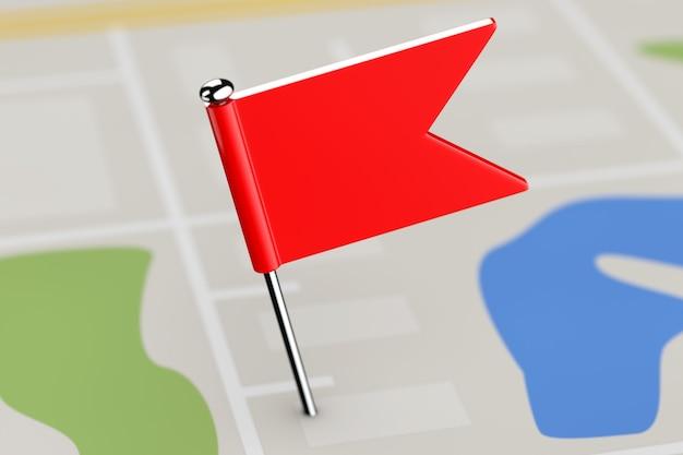 Czerwony wskaźnik flaga na ekstremalne zbliżenie tła mapy. renderowanie 3d