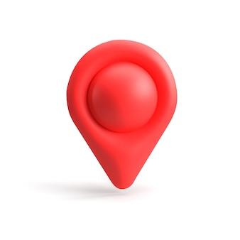 Czerwony wskaźnik gps. czerwony wskaźnik mapy. odosobniony. renderowanie trójwymiarowe. renderowania 3d.
