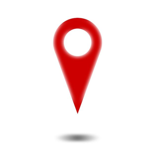 Czerwony wskaźnik mapy lub ikona pinezki z odcieniem na białym tle
