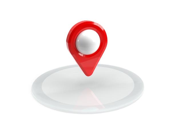 Czerwony wskaźnik mapy na podium. czerwony wskaźnik gps. odosobniony. renderowanie trójwymiarowe. 3d odpłacają się ilustrację.
