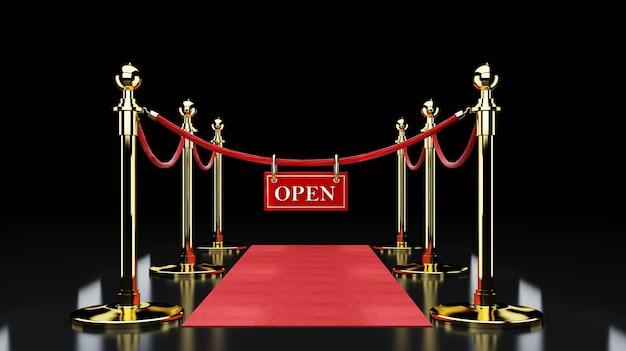Czerwony wydarzenie dywan, schodek i złoto arkany bariery pojęcie sukces i triumph, 3d rendering
