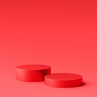 Czerwony wyświetlacz produktu lub podium stoją na czerwonym tle. nowoczesny cokół do projektowania. renderowanie 3d.