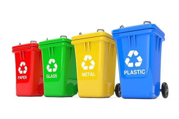 Czerwony, zielony, żółty i niebieski kosze z symbolem recyklingu na białym tle. renderowanie 3d