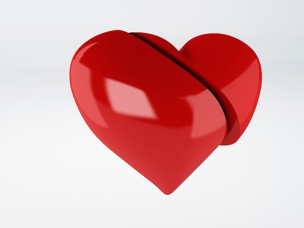 Czerwony złamane serce om biały tło