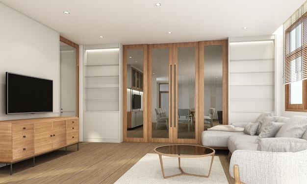 Część dzienna w nowoczesnym stylu współczesnym z drewnianą ramą okienną i czystą szare meble renderowanie 3d
