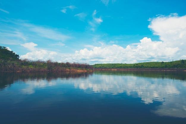 Część jeziora wody, tropikalne pole naturalne