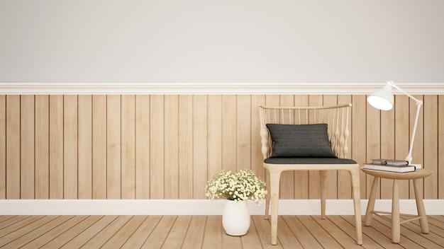 Część mieszkalna w mieszkaniu lub kawiarni - rendering 3d