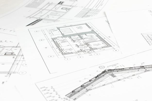 Część projektu architektonicznego. plan architektoniczny, projekt techniczny i konstrukcje. inżynieria
