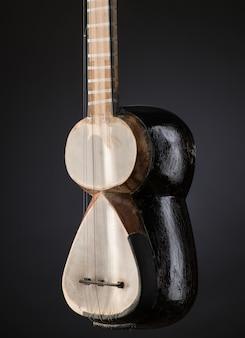 Część starożytnego azjatyckiego strunowy instrument muzyczny na czarnym tle z podświetleniem