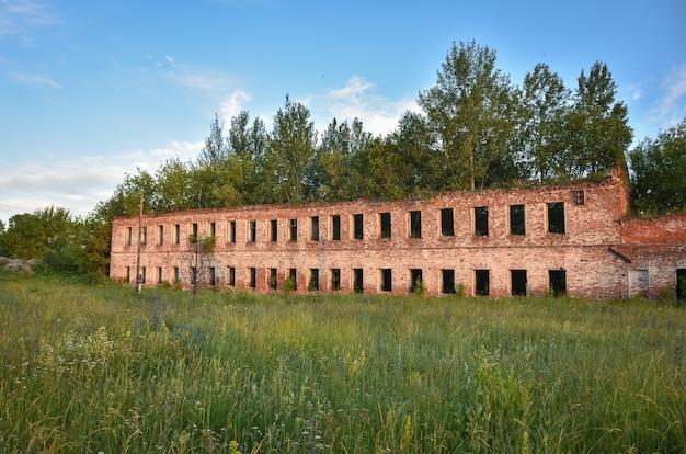 Część zrujnowanego muru z czerwonej cegły otoczonego zielenią