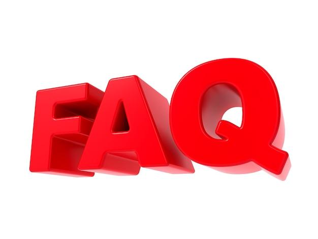 Często zadawane pytania - czerwony tekst 3d. na białym tle.