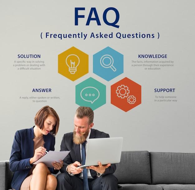 Często zadawane pytania dotyczące obsługi klienta ilustracja koncepcja