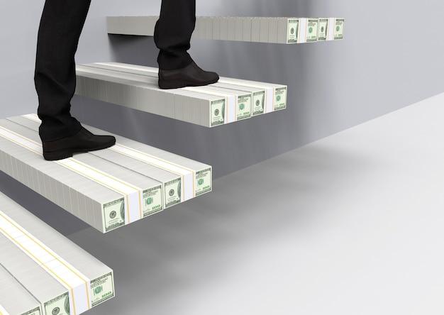 Człowiek biznesu, który wspinał się po 100 dolarach usa po schodach do celu sukcesu.
