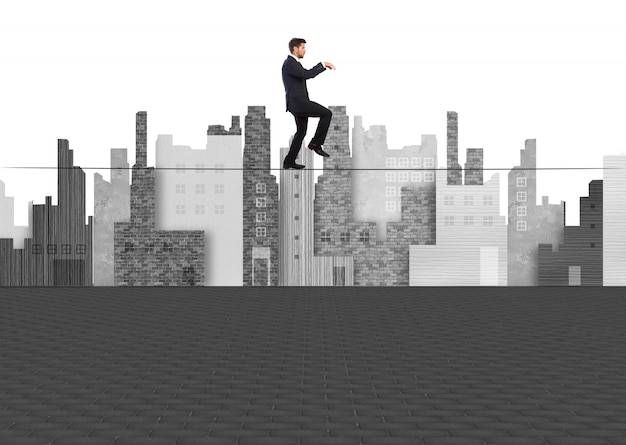 Człowiek chodzenie na tightrope