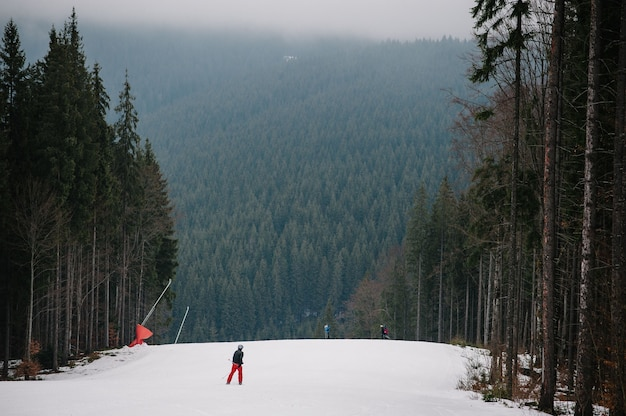 Człowiek daleko jeździ na nartach i zjeżdża na śnieżną ścieżkę w karpatach. na tle lasu i stoków narciarskich.