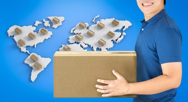 Człowiek dostawy renderowania 3d z pudełkiem na mapie świata