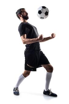 Człowiek gra w piłkę nożną