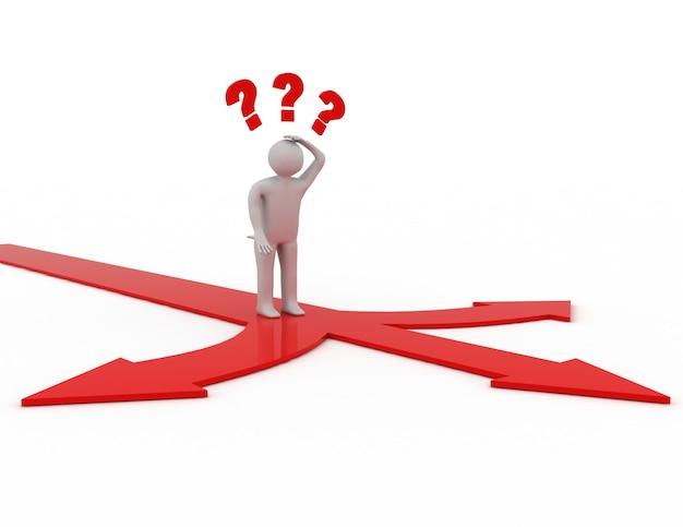 Człowiek myślący i mylący z trzema czerwonymi strzałkami wskazującymi trzy różne kierunki.
