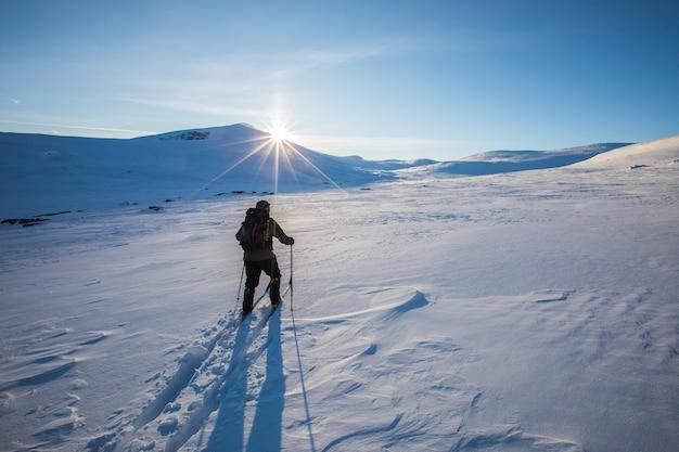 Człowiek na nartach w parku narodowym dovrefjell