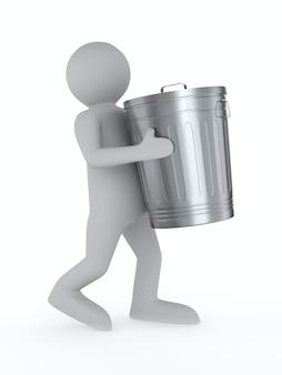 Człowiek niesie kosz na śmieci. na białym tle, renderowania 3d