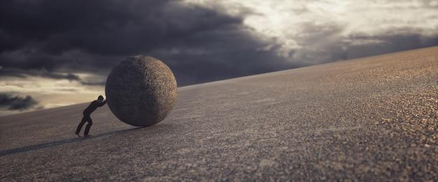 Człowiek pchający ogromną skałę pod górę, renderowanie 3d