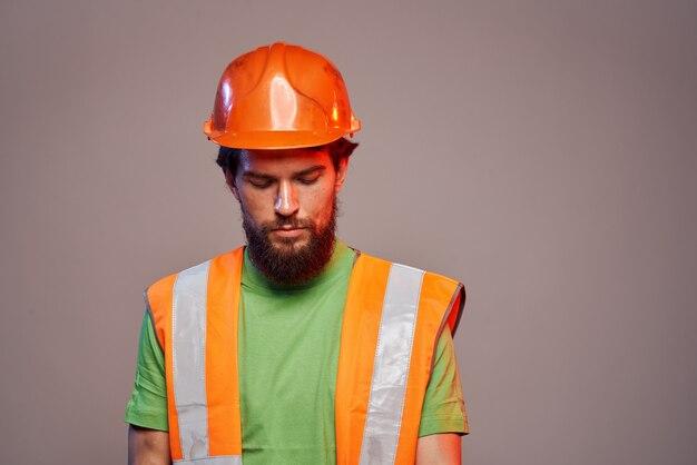 Człowiek pracowników budowa profesjonalny jednolity styl życia bezpieczeństwa.