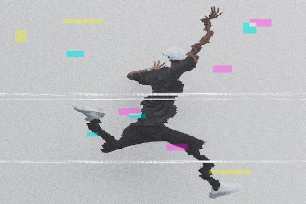 Człowiek skacze na efekt usterki