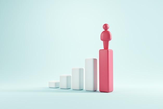Człowiek stojący na czerwonej strzałce w górę idzie do sukcesu w karierze