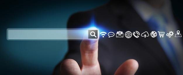 Człowiek surfujący w internecie za pomocą cyfrowego dotykowego paska adresu internetowego