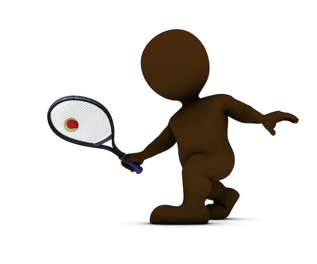 Człowiek uderzanie piłki tenisowej