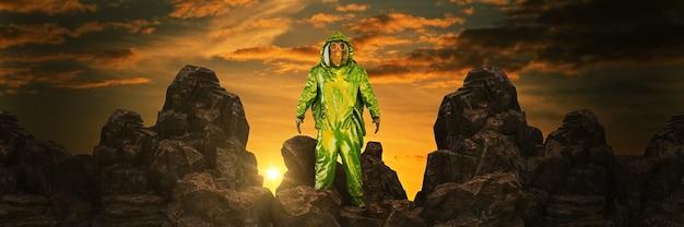 Człowiek w chemicznym kombinezonie ochronnym renderowania 3d