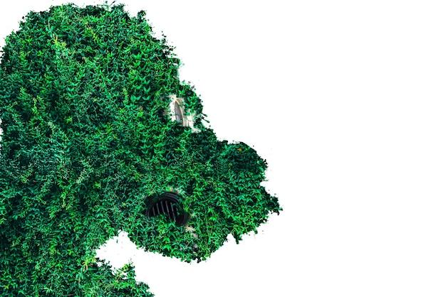 Człowiek w masce gazowej z trawy na białym tle. wpływ promieniowania. koncepcja ekologiczna. zanieczyszczenie środowiska.