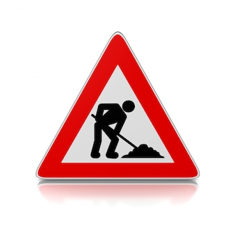 Człowiek w pracy trójkąt znak drogowy
