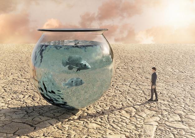 Człowiek w pustyni patrząc na akwarium z rybami. pojęcie nierówności i niedoboru zasobów naturalnych oraz niszczenia środowiska. renderowanie 3d