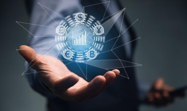 Człowiek z ikoną biznesu online, dolara i euro