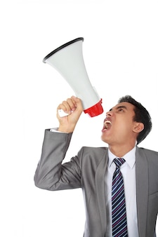 Człowiek za pomocą megafon
