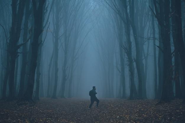 Człowiek zgubił się w strasznym, mglistym lesie
