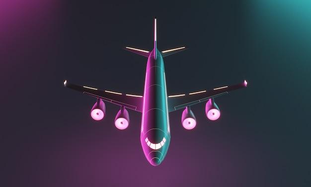 Czterosilnikowy samolot na ciemnym tle. stylizowany na science fiction. renderowanie 3d