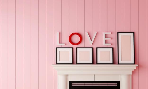 Cztery czarne puste ramki na zdjęcia umieszczone na kominku z napisem love na ścianie w pastelowym różowym pokoju z drewna.