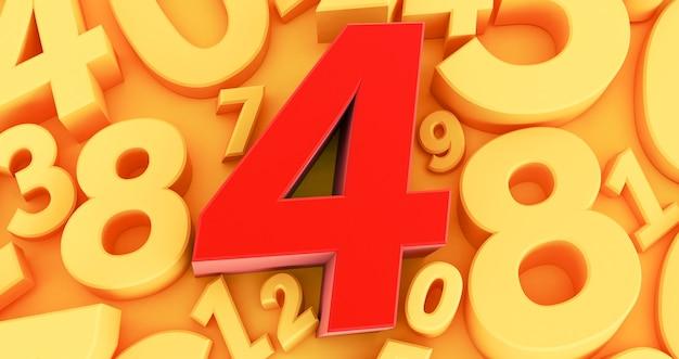 Cztery czerwone cyfry pośrodku. kolekcja czerwonych liczb 3d - 4