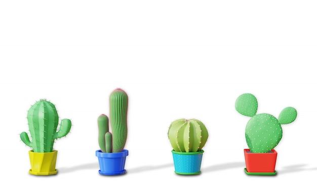 Cztery gatunki różnicy kaktusów w minimalistycznym stylu kreskówka na białym tle. renderowanie ilustracji 3d.