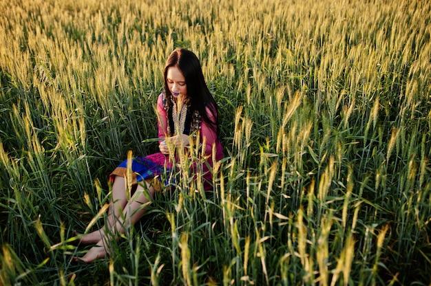 Czuła indyjska dziewczyna w sari, z fioletowymi wargami uzupełniał pozę przy polem o zachodzie słońca. modny model indii.