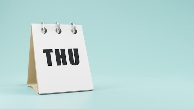 Czw czwartek na papierowym kalendarzu biurkowym renderowanie 3d