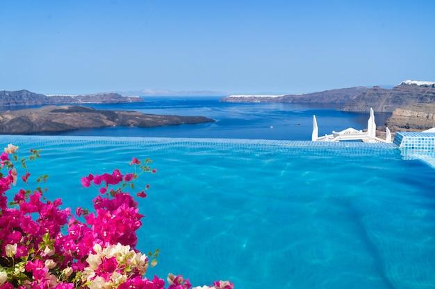 Czysta woda w basenie i widok na kalderę santorini z kwiatami