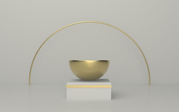 Czyste białe złoto podium z tłem kręgu złota linia