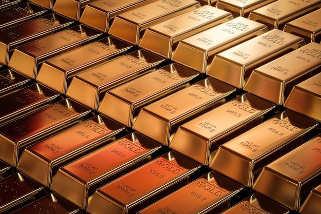 Czyste sztabki złota i koncepcja waluty finansowej na złotym tle skarbów z inwestycjami biznesowymi. renderowanie 3d.