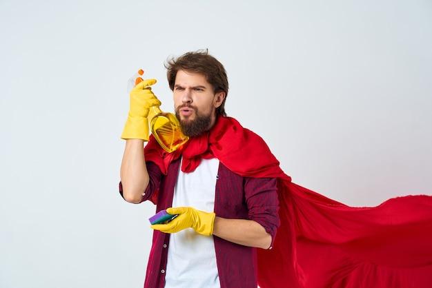 Czystsze czyszczenie czerwonej peleryny higiena świadczenie usług