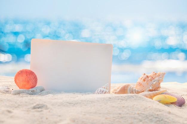 Czysty papier z muszelkami na piaszczystej plaży